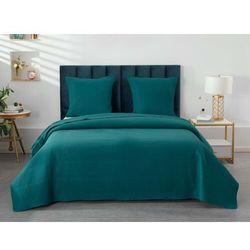 Vente-unique Pikowana narzuta killy 230 × 250 cm i 2 poszewki na poduszki 65 × 65 cm – poliester – kolor morski