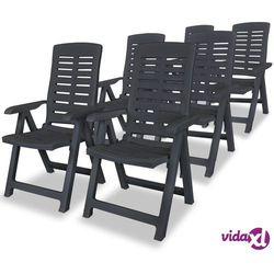 Vidaxl rozkładane krzesła ogrodowe, 6 szt., plastikowe, antracytowe