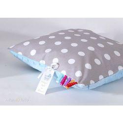 Mamo-tato poduszka minky dwustronna 40x40 grochy szare / błękit