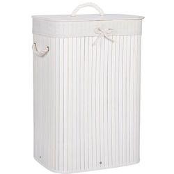 Kosz na pranie 72L pojemnik z klapą bambus naturalny biały