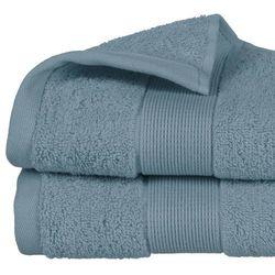 Mały ręcznik łazienkowy stworzony z bawełny w kolorze niebieskim marki Atmosphera