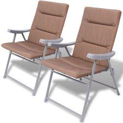 Vidaxl składane krzesła ogrodowe wyściełane, 2 szt., brązowe