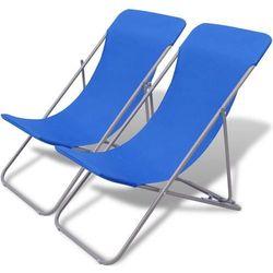 Składane leżaki plażowe 2 szt Niebieskie