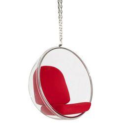 Fotel wiszący BUBBLE poduszka czerwona - korpus akryl, poduszka wełna