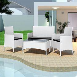 vidaXL Zestaw mebli polirattanowych (2 fotele + sofa stół) - sprawdź w wybranym sklepie
