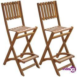 vidaXL Składane krzesła barowe, 2 szt., lite drewno akacjowe (8718475502616)
