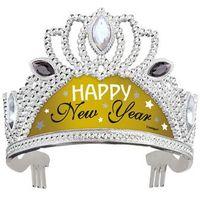 Tiara srebrno-złota Happy New Year - 1 szt.