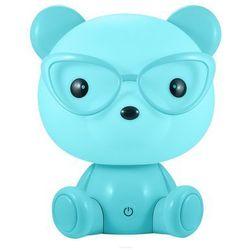 Lampka nocna dziecięca zwierzak polux miś okularnik 1x2,5w led niebieska, 3 poziomy świecenia 308252 marki Sanico
