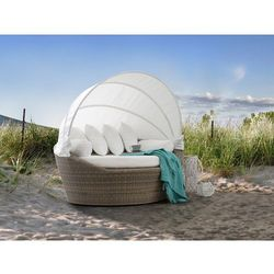 Kosz plażowy jasnobrązowy - ogrodowy - rattanowy - leżanka - SYLT (4260580928903)