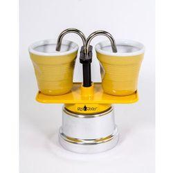 Kawiarka Top Moka Mini 2 filiżanki żółta + 2 kubeczki