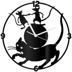 Congee.pl Zegar z pleksi na ścianę kot i myszy z białymi wskazówkami (5907509936029)
