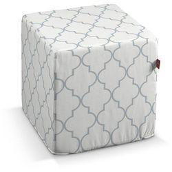 Dekoria  pufa kostka twarda, szaro-białe wzory marokańskie, 40x40x40 cm, comics