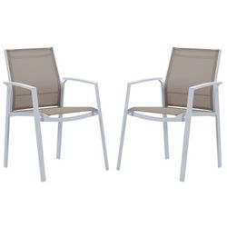 Zestaw 2 foteli ogrodowych PALAOS z aluminium z możliwością ułożenia w stos – kolor taupe
