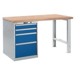 Lista Stół roboczy kompletny, blat roboczy z multipleksu bukowego,wys. 840 mm, szafka dolna, 4 szuflady