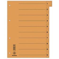 Przekładki DONAU, karton, A4, 235x300mm, 0-9, 10 kart z perforacją, pomarańczowe