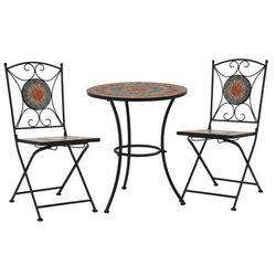 Elior 3-cz. ceramiczny, szaro-pomarańczowy zestaw mebli bistro – revels