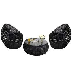 Salon ogrodowy cazas z technorattanu – czarny: 2 krzesła i stół marki Vente-unique