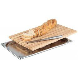 Aps Deska prostokątna drewniana do krojenia pieczywa z tacą na okruchy | gn 1/1 | 530x325mm
