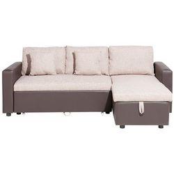 Beliani Sofa narożna lewostronna tapicerowana beżowa z funkcją spania tampere (4260602372882)