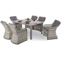 Meble ogrodowe aluminiowe capri 145 cm silver / sand dallas light grey / grey 6+1 marki Home & garden