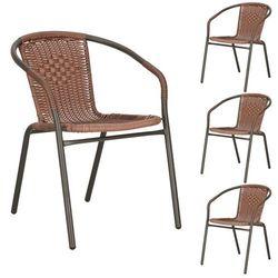 Krzesła ogrodowe 4 szt. metalowe na balkon brązowe zestaw