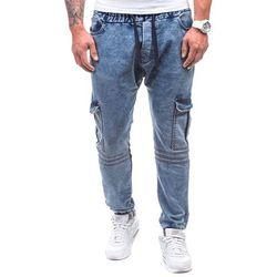 Niebieskie spodnie jeansowe joggery męskie Denley 805 - NIEBIESKI