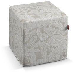 pufa kostka twarda, lniano-beżowe wzory, 40x40x40 cm, rustica marki Dekoria