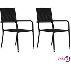 vidaXL Krzesła ogrodowe, 2 szt., polirattan, czarne