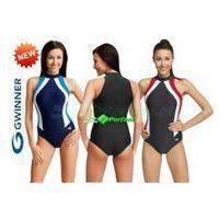 Gwinner Olivia strój kąpielowy pływacki grafit/czerwień/biały  + czepek | wysyłka 24h