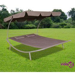 vidaXL Leżak ogrodowy z baldachimem i poduszkami, brązowy (8718475873983)