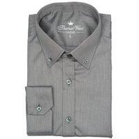 Grafitowa koszula w jodełkę, kolor szary