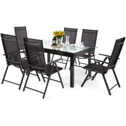 Home&garden Meble ogrodowe aluminiowe orlando basic black / black 6+1 (5902425326442)