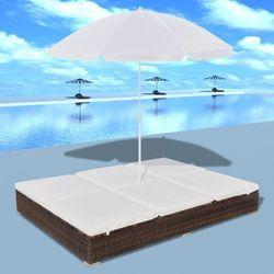 vidaXL Luksusowe łóżko rattanowe, kolor brąz, leżak dwuosobowy z parasolem z kategorii Parasole ogrodowe