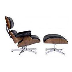 Fotel LOUNGE VA PREMIUM SZEROKI CHROM z podnóżkiem czarny - sklejka orzech, skóra naturalna (5900168803053)