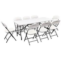 vidaXL Stół ogrodowy rozkładany + 8 krzeseł (180 cm) - produkt z kategorii- Zestawy ogrodowe