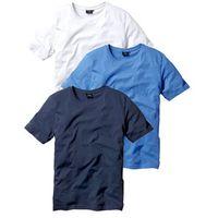 Bonprix T-shirt (3 szt.) regular fit  niebieski + biały + ciemnoniebieski