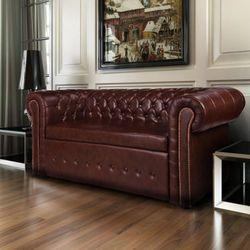 vidaXL Skórzana sofa Chesterfield Brąz - produkt z kategorii- sofy