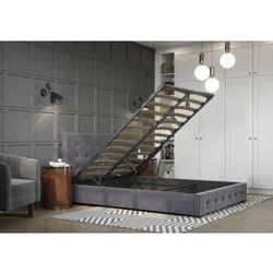 Łóżko 160x200 tapicerowane altea welur szare+pojemnik+stelaż marki Big meble