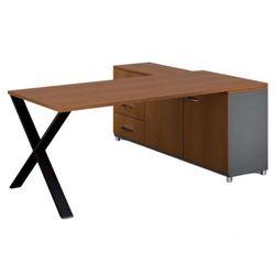B2b partner Biurowy stół roboczy alfa x z szafką po lewej, blat 1800 x 800 mm, wzór czereśnia