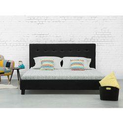 Łóżko czarne - 160x200 cm - łóżko tapicerowane - stelaż - LA ROCHELLE, kolor czarny