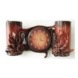 Mahoniowy zegar scienny w skórze - b4-12 marki Art deco