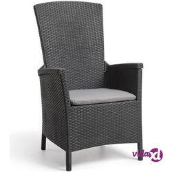 rozkładane krzesło ogrodowe vermont, grafitowe, 238452 marki Allibert