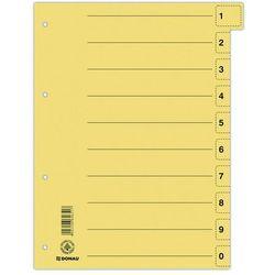 Przekładki DONAU, karton, A4, 235x300mm, 0-9, 10 kart z perforacją, żółte
