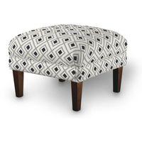 podnóżek do fotela, czarno-szare rąby na białym tle, 56x56x40 cm, geometric marki Dekoria