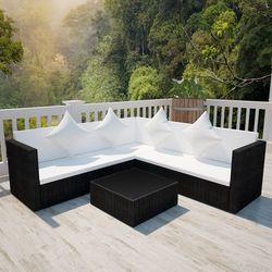 Vidaxl  czarny, poliratanowy zestaw wypoczynkowy z 2 sofami dwuosobowymi, kategoria: sofy