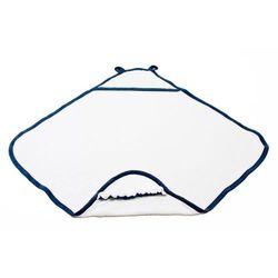 Ręcznik bambusowy z kapturkiem - biały - granatowa lamówka - Poofi