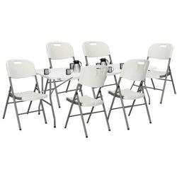 Zestaw cateringowy, stół 240 cm z 6 krzesłami składany na bankiet, zestaw turystyczny biały