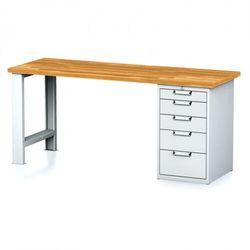 Stół warsztatowy MECHANIC, 2000x700x880 mm, 1x szufladowy kontener, 5 szuflad, szary/szary