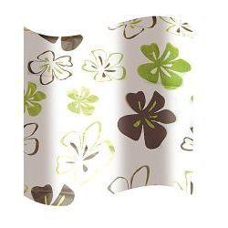 Awd interior zasłonka prysznicowa biała w zielono-brązowe kwiatki awd02100819