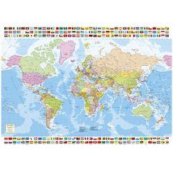 Puzzle 1500 Mapa polityczna Świata z flagami od SELKAR